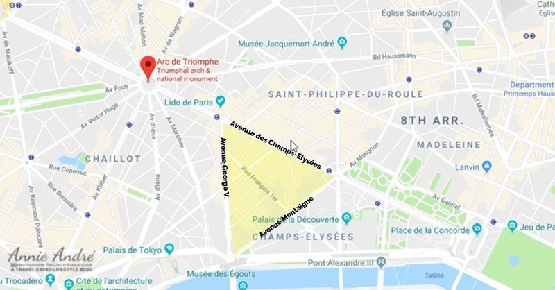 paris-golden-triangle border 3 popular French streets