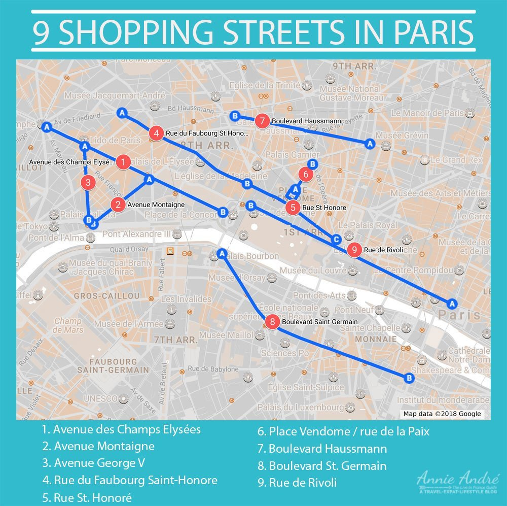 Paris map showing 9 of France's 18 most popular shopping streets