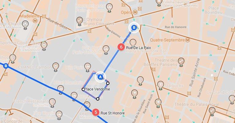 place-vendome is the start of rue-de-la-paix- a popular shopping street in Paris France