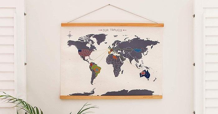 Cross stitch wall hanging kit for kids who love to travel