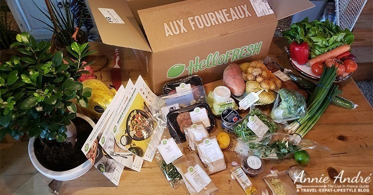 Meal kit ingredients shipped to me in France from Hello Fresh France
