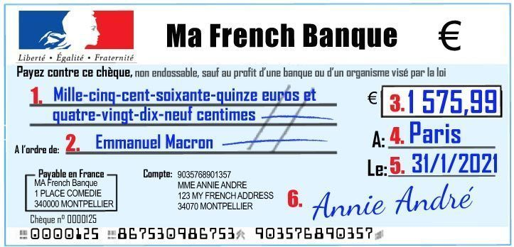 How to write / fill out a French bank cheque