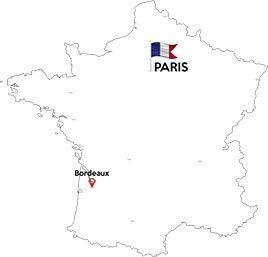 Paris to Bordeaux map outline
