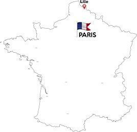 Paris to Lille map outline