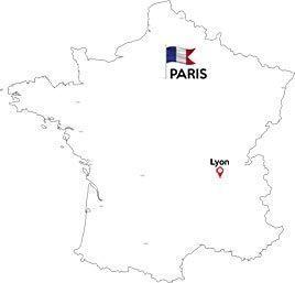 Paris to Lyon map outline