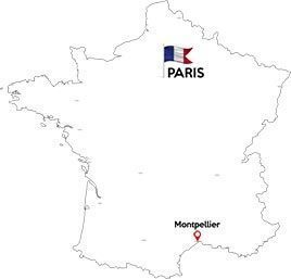 Paris to Montpellier map outline