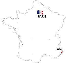 Paris to Nice map outline