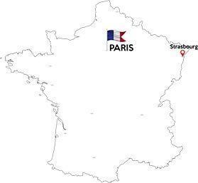 Paris to Strasbourg map outline