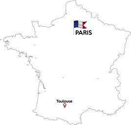 Paris to Toulous map outline