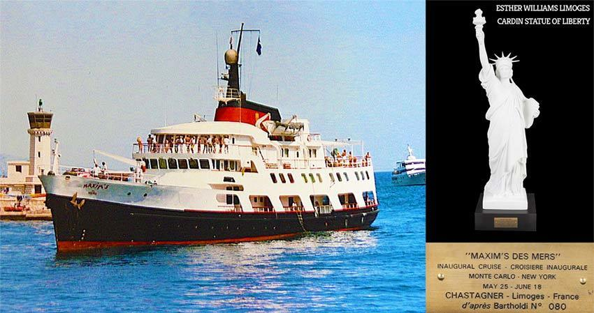 Maxim's des Mer Yacht boat which had a statue of liberty on the bow. + Photo of limoge statue of liberty which belonged to Esther Williams.