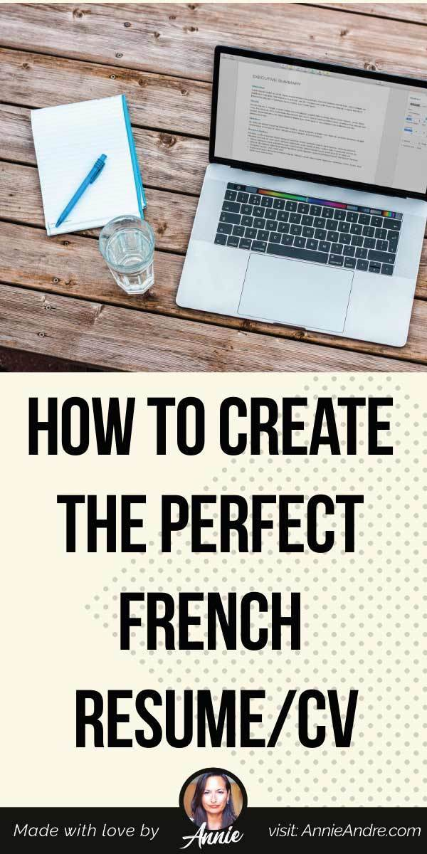 Pintrest pin about How to make a French CV