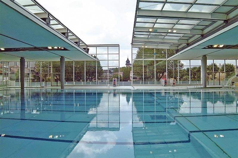 modern interieor of the Judaique public pool in Bordeaux