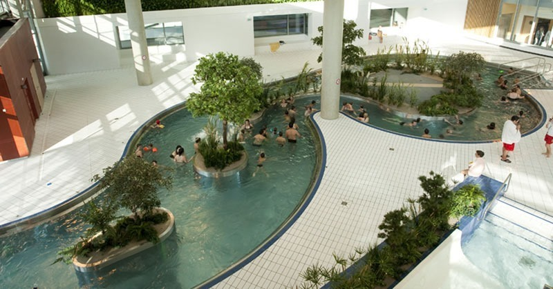 Manmade indoor river current at publich pool in Chartres France at L'Odyssee