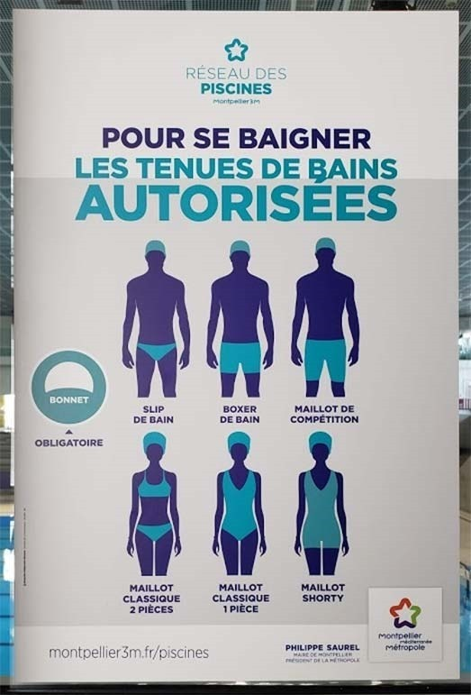 poster from Montpellier Antigone pool of allowed swimming suits in French public pools in France