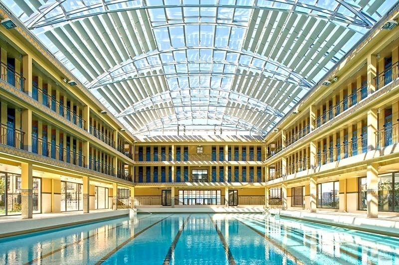 Pailleron art deco public pool in Paris