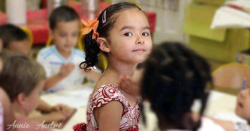 Daughter at her first preschool in moyenne section in Marseille