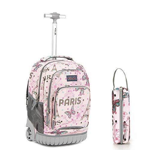 Paris themed back pack on wheels