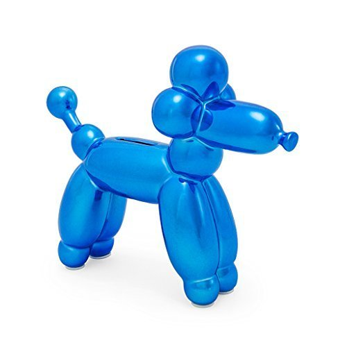 blue balloon French poodle piggy bank