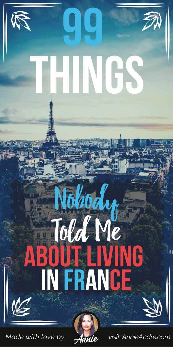 Pintrest pin about 99 things nobody told me about living in france
