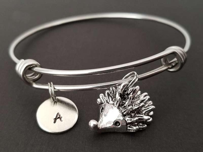 hedgehog bracelet with initial: A cute French inspired gift for young teens