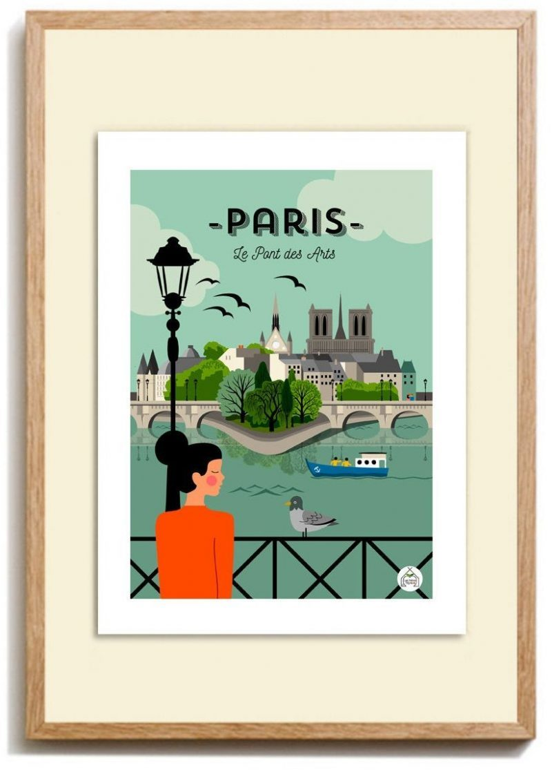 Vintage style paris poster gift for kids who love France