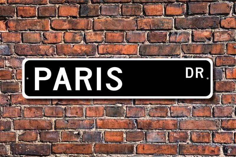 Paris street sign room decor