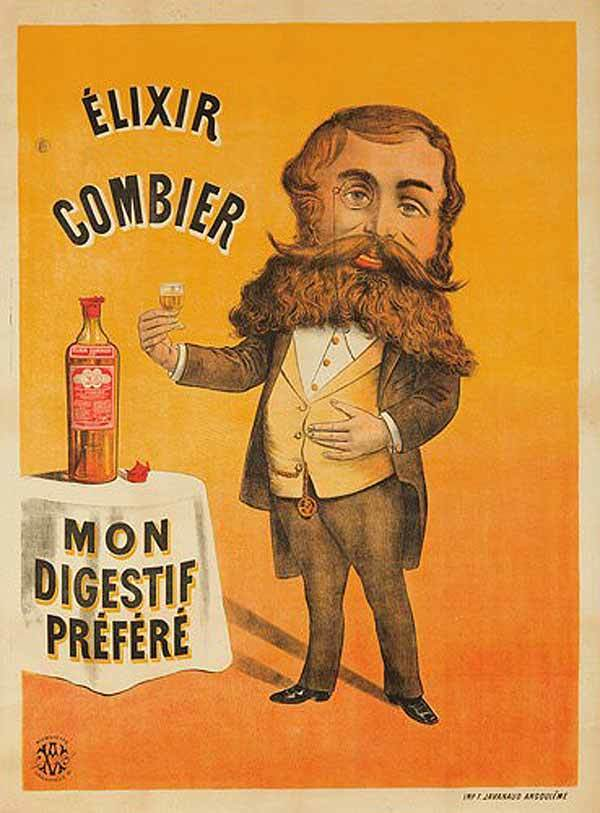 Old poster of Élixir Combier a French digestive