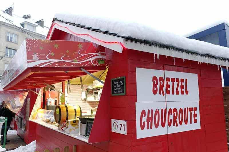 Bretzel CHoucroute chalet in Amiens France Christmas market