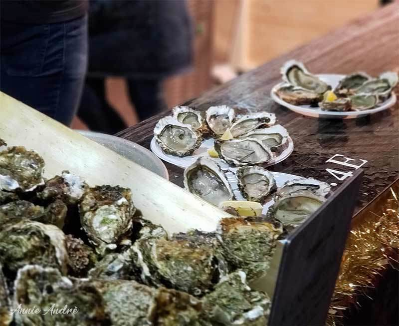 Photo of oysters at Christmas market in France