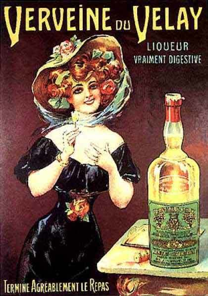 Old poster of verveine Velay A French digestive drink