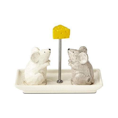 Mice With Cheese Stoneware Salt And Pepper Shakers