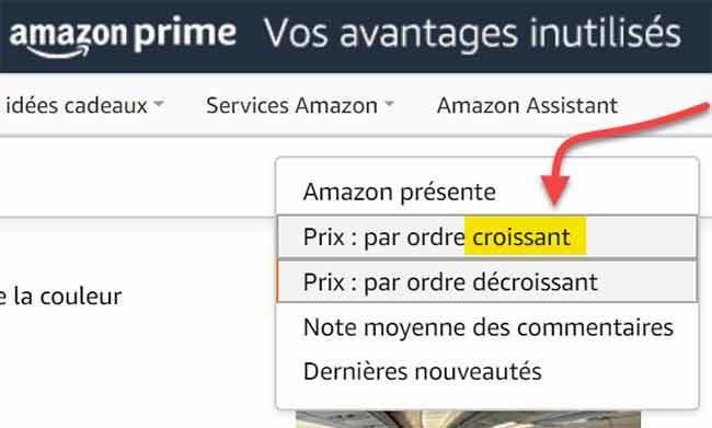 Photo of filter Filter options on Amazon