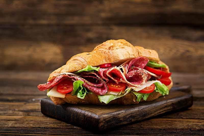 croissant salami sandwhich