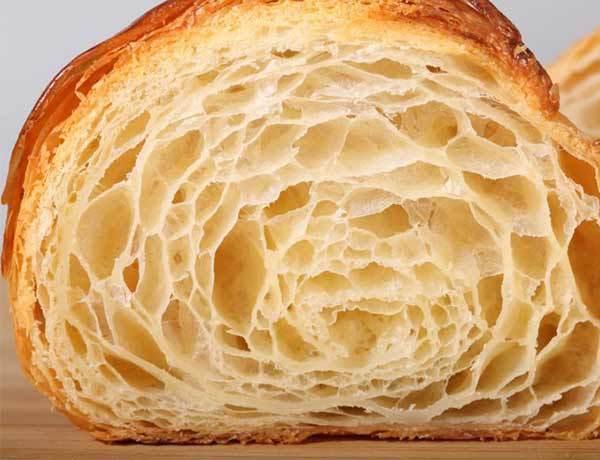 photo of croissant interior air pockets