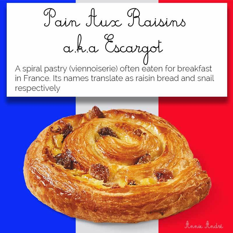 definition card of Pains aux raisins aka escargot