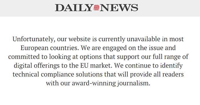 screenshot of Daily News site blocked in the EU