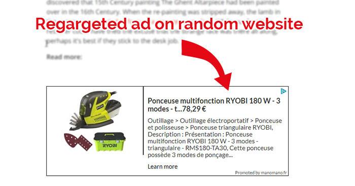 screenshot of re targeted ad on a random website