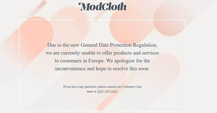 screenshot of modcloth website when you are blocked from viewing based on your geographic location