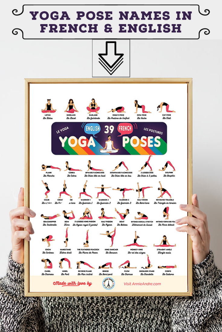 Download this free printable yoga pose chart with Yoga postures in French and English