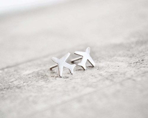 Sterling Silver Airplane Earring Studs