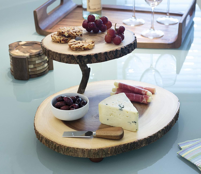 2-Tier Tree Bark Cheese Board