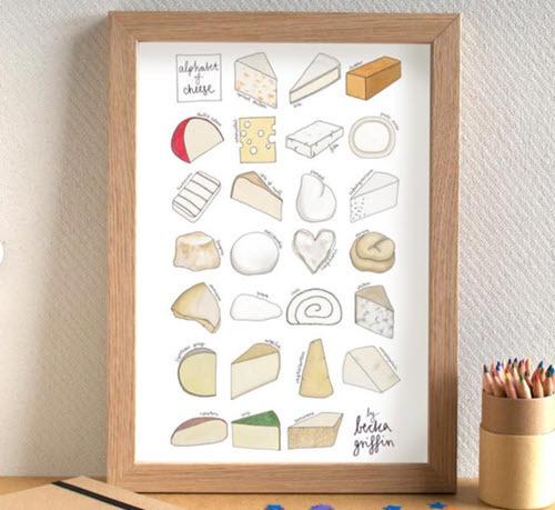Cheese Alphabet Kitchen Art Print