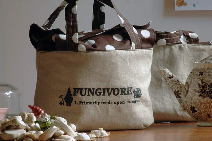 This was a cotton linen lunch bag I sewed and screen-printed with different definitions: Fungivore, omnivore, carnivore etc.