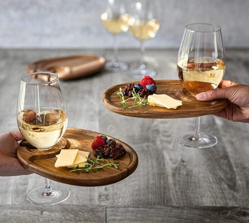 Personal Cheese Board / Cocktail Plates & Wine Glass Holder
