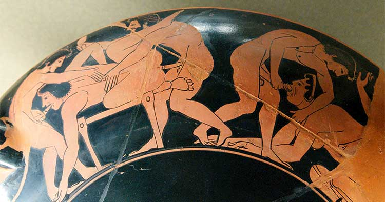 pottery Erotic scene. Rim of an Attic red-figure kylix 510 BC (part of the collections of the Louvre (Department of Greek, Etruscan, and Roman Antiquities)