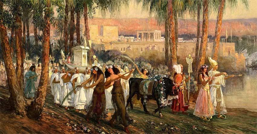 Navigium Isidis: An Egyptian Procession by Frederick-Arthur-Bridgman