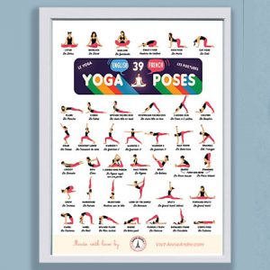 printable poster: 39 yoga pose names in French and English