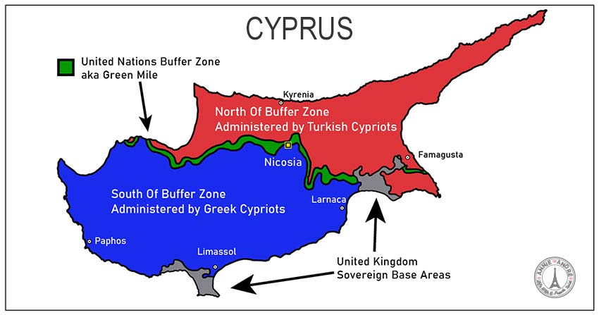 MAP OF CYPRUS AND GREEN MILE BORDER BETWEEN THE NORTH AND SOUTH