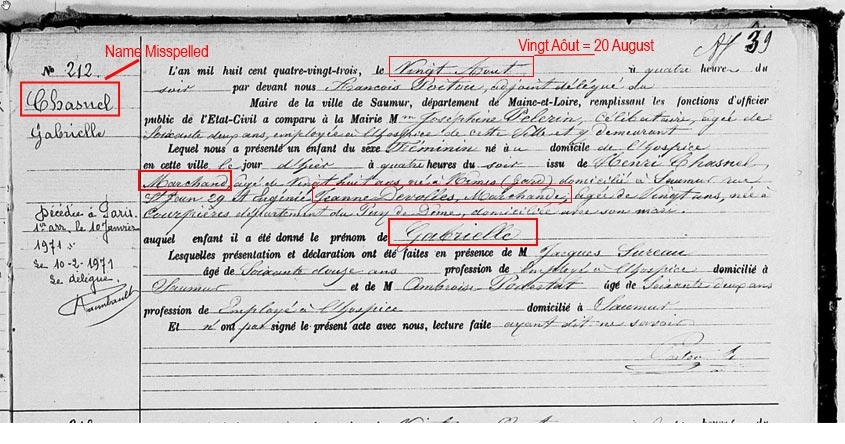 Coco Chanel Birth Certificate, last name misspelled as Chasnel