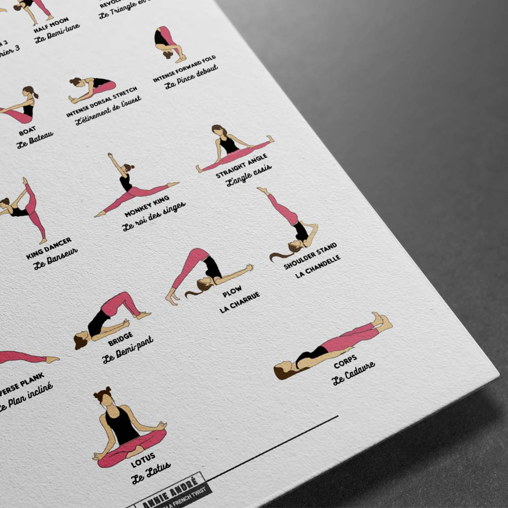 Bilingual yoga pose french english (5 by 7 ratio International size)